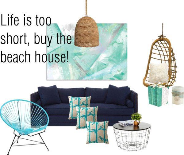 Rattan & blue: living room beach house makeover