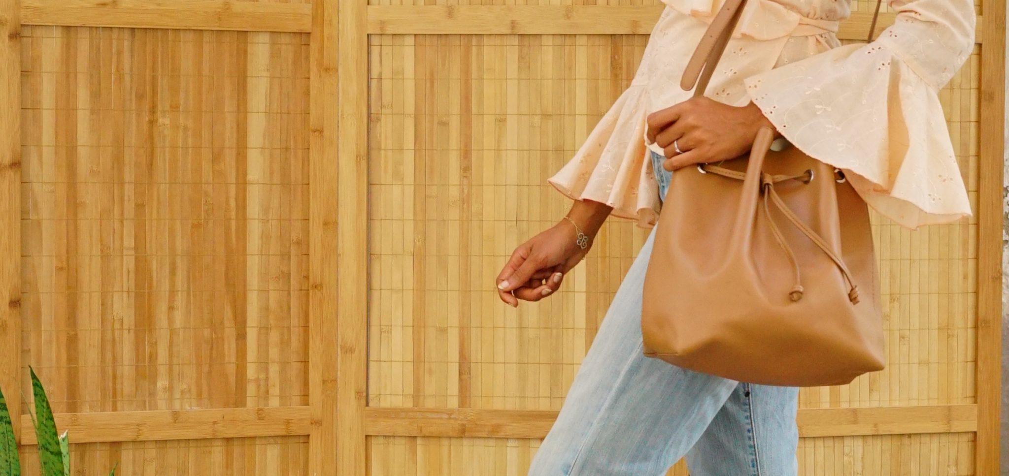 Week-end series: Peach ruffled blouse & bucket bag