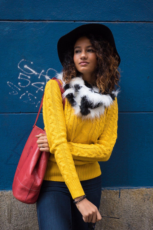 Pop colours in the winter: Mustard jumper
