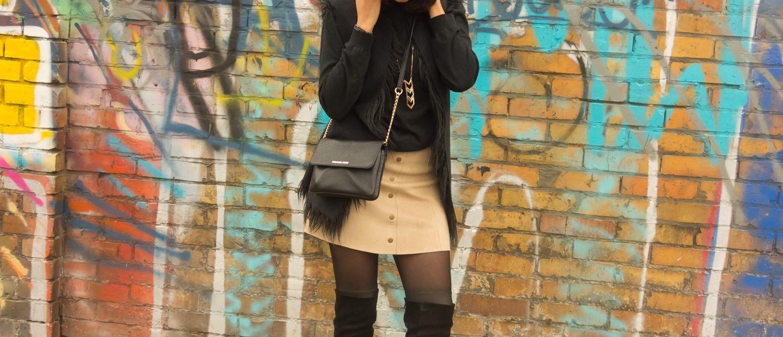 Wandering Berlin in my Faux-suede skirt